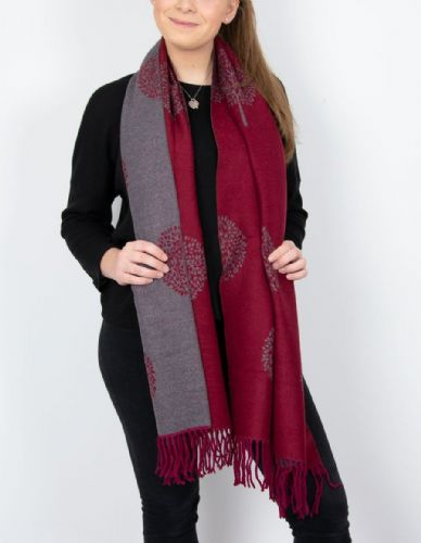 Reversible Mulberry Tree Pashmina & Scarf  - Mulberry & Grey